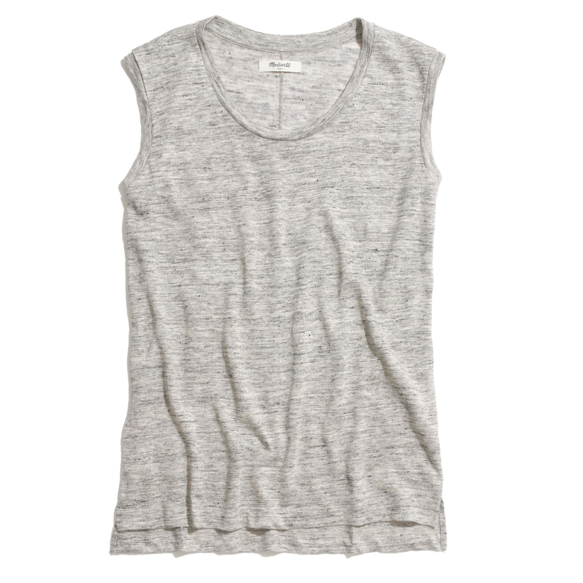 19470a66f56b8d Lyst - Madewell Modern Linen Muscle Tee in Heather in Gray