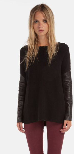 Maje Desaxe Leather Panel Sweater - Lyst