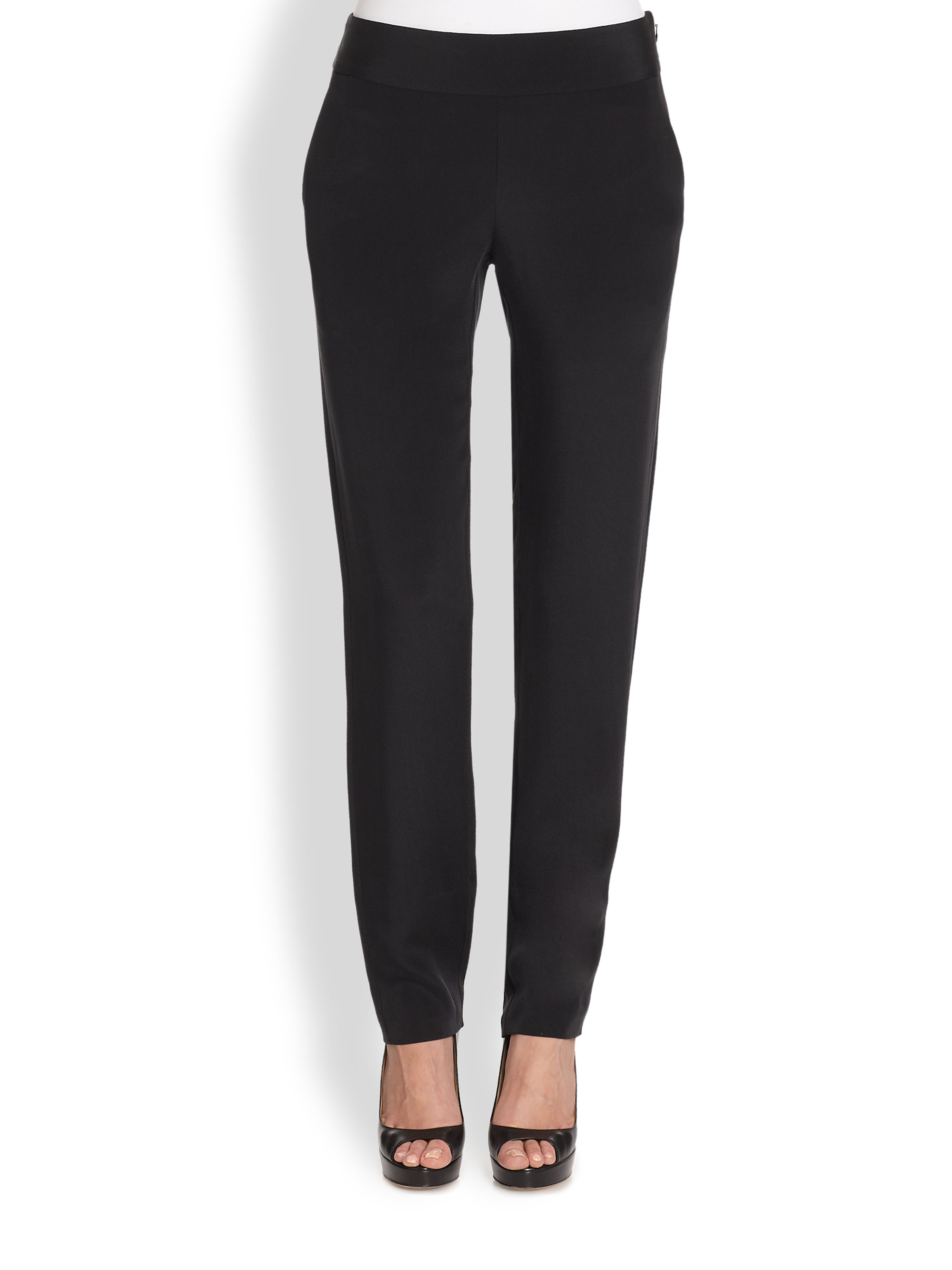 Lyst - Marchesa Voyage Silk Pants in Black