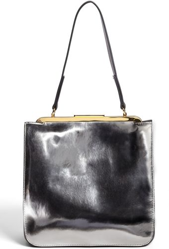Marni Metallic Leather Frame Bag - Lyst