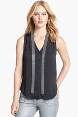 Michael by Michael Kors Vneck Blouse with Neck Tie - Lyst