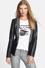 Michael by Michael Kors Studded Placket Leather Knit Jacket - Lyst