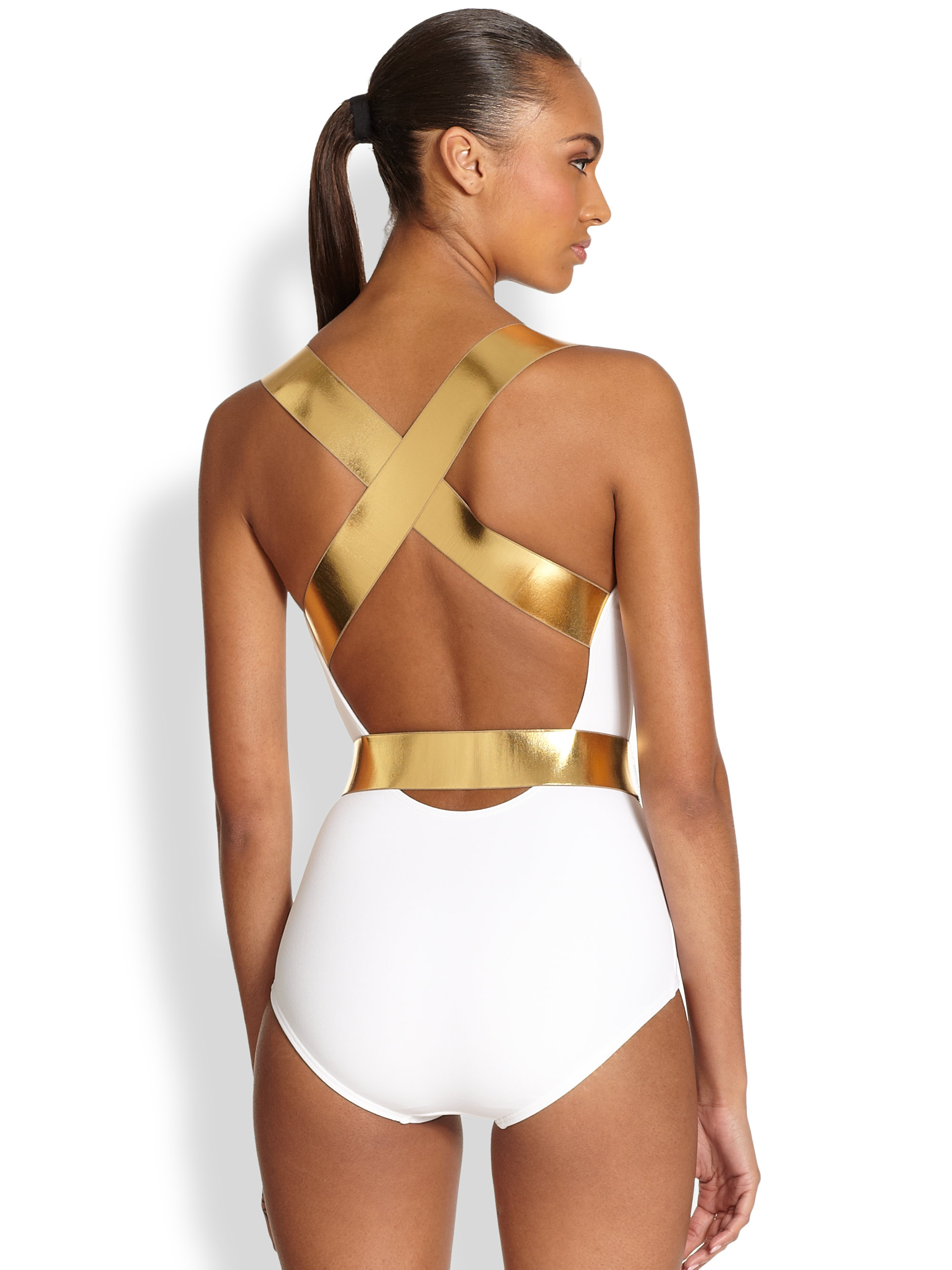 lyst michael kors onepiece belted swimsuit in white. Black Bedroom Furniture Sets. Home Design Ideas