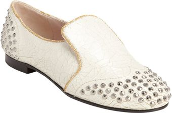 Miu Miu Crackled Studded Loafer - Lyst