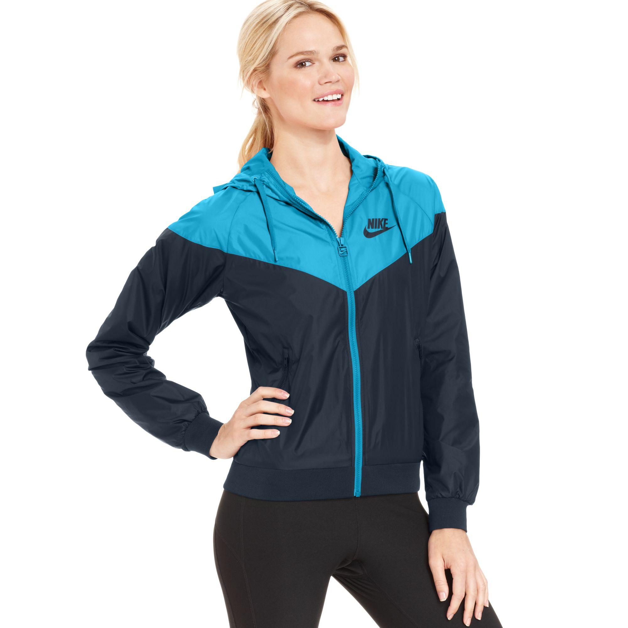 42e57474b008b Nike Colorblocked Hooded Windrunner Jacket in Blue - Lyst