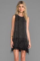 Parker Allegra Feather Dress in Black - Lyst