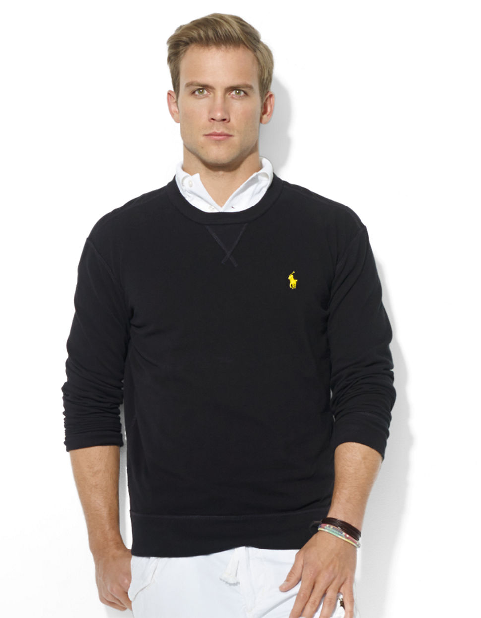 lyst polo ralph lauren long sleeved mesh crew neck. Black Bedroom Furniture Sets. Home Design Ideas