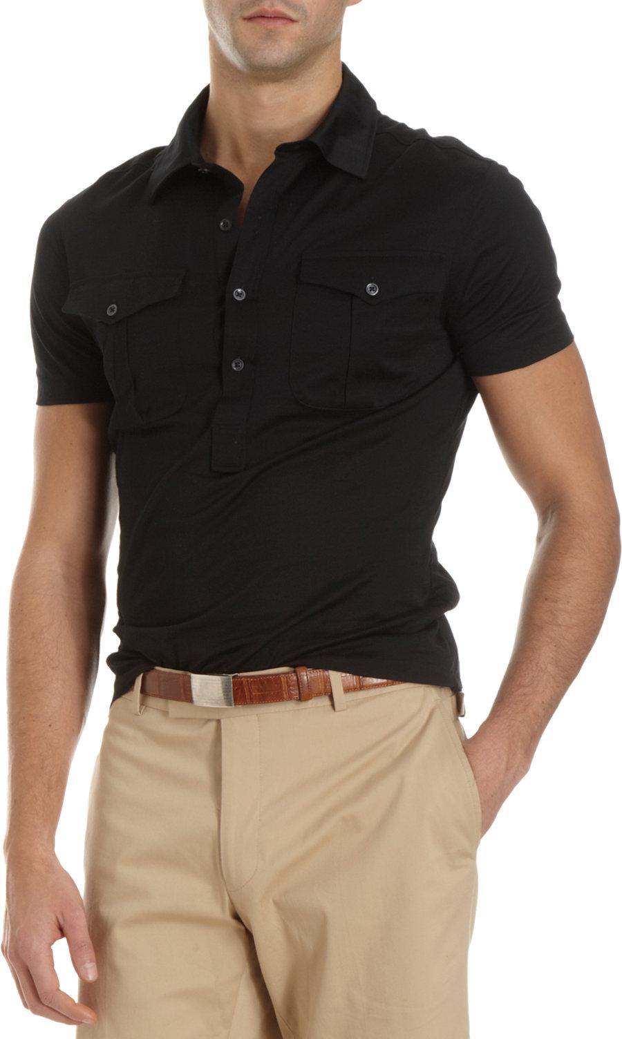 Lyst ralph lauren black label flap pocket polo in black for Ralph lauren black label polo shirt