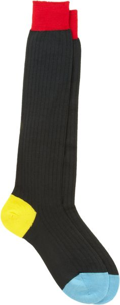 Richard James Colorblock Overthecalf Socks - Lyst