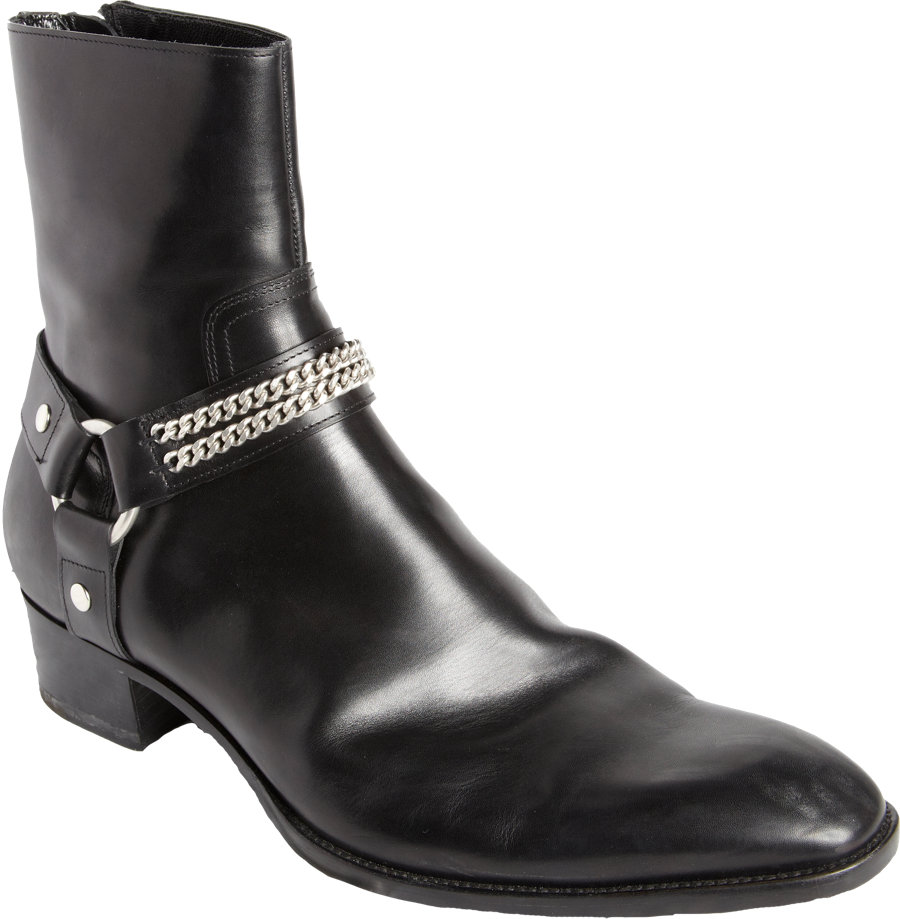 72771e780c2 Saint Laurent Chain Harness Ankle Boot in Black for Men - Lyst