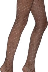 Saint Laurent Crystal Fishnet Pantyhose - Lyst