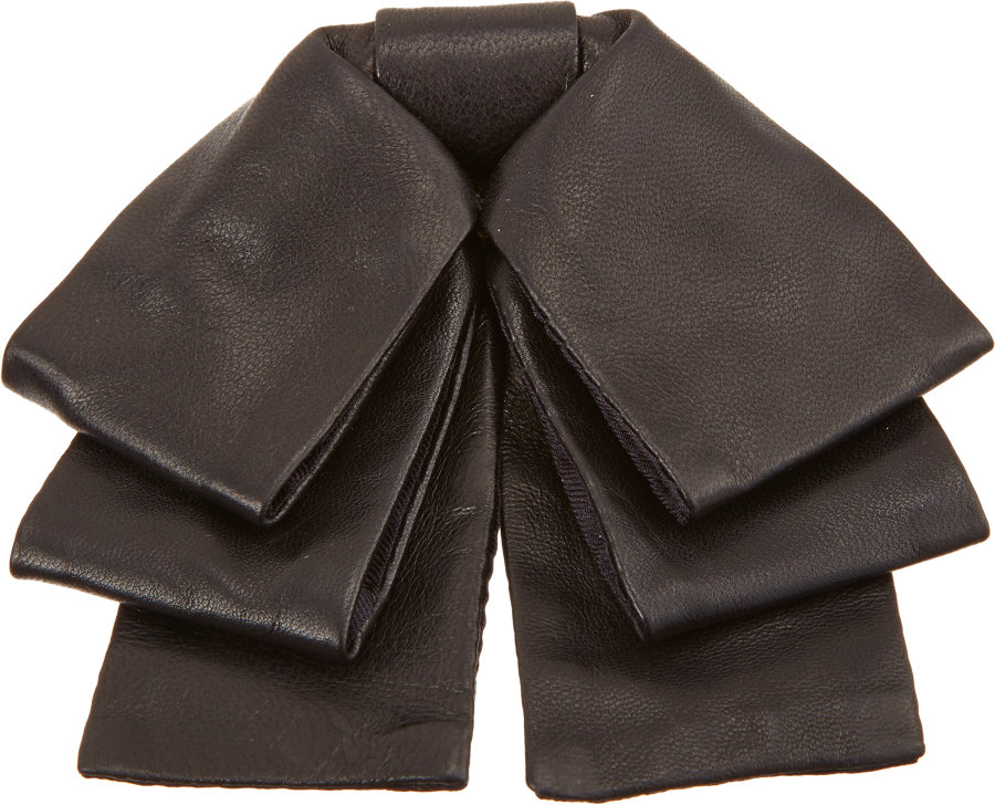 laurent leather bow tie in brown for