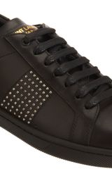 Saint Laurent Studded Low Top Sneaker - Lyst