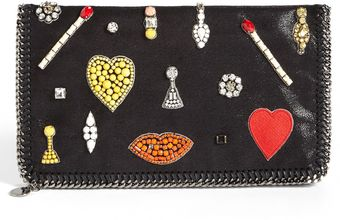 Stella McCartney Falabella Embroidered Clutch - Lyst