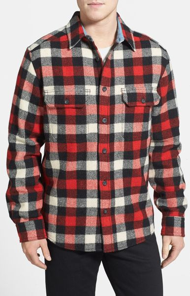 Woolrich Check Wool Blend Flannel Shirt In Red For Men
