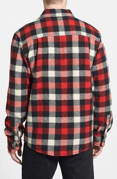 Woolrich check wool blend flannel shirt in red for men for Red black and white flannel shirt