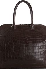 Zagliani Crocodile Large Tomodachi Bowling Bag - Lyst