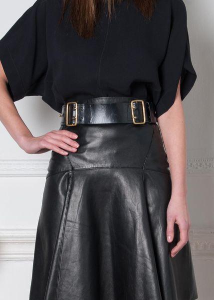 Real Ferragamo Belt >> Amanda Wakeley Double Buckle Leather Belt in Gold (Black) | Lyst