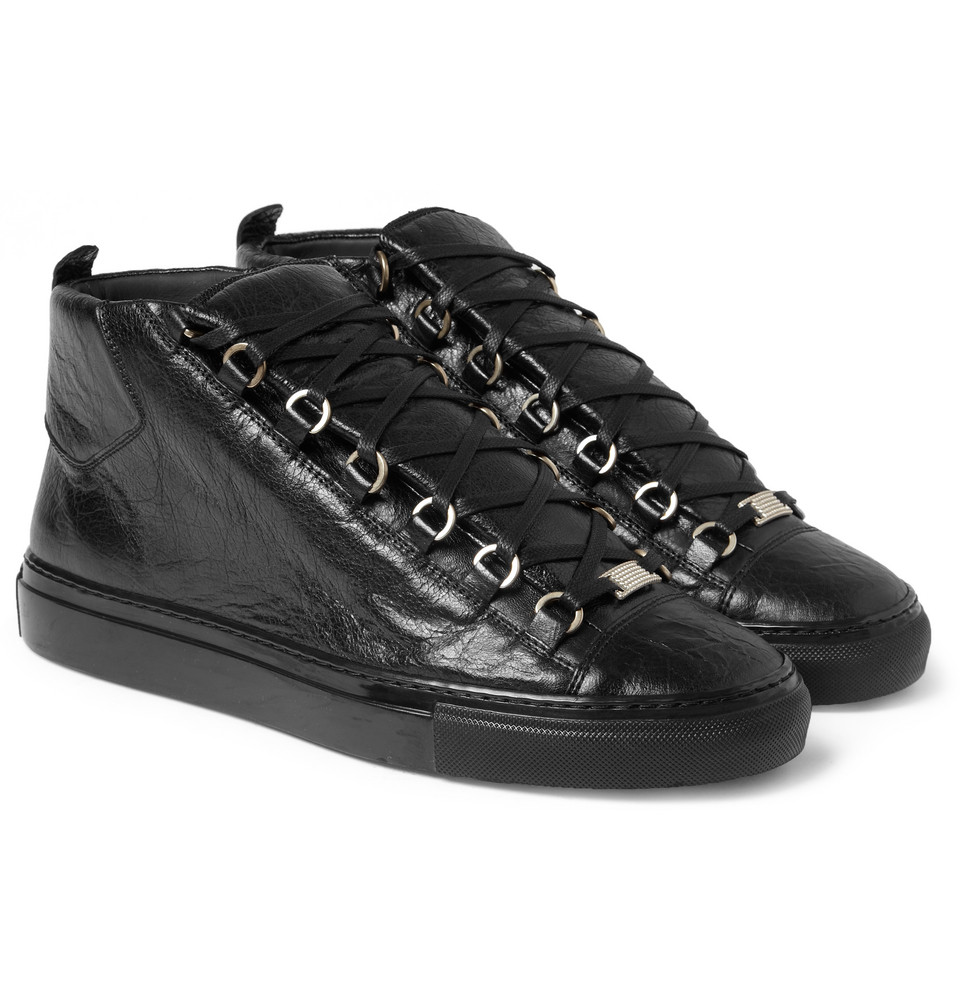 6810727a1e4 Balenciaga Arena High-Top Leather Trainers in Black for Men - Lyst