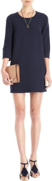 Barneys New York Three Quarter Sleeve Shift Dress - Lyst