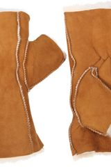 Barneys New York Shearling Fingerless Gloves - Lyst