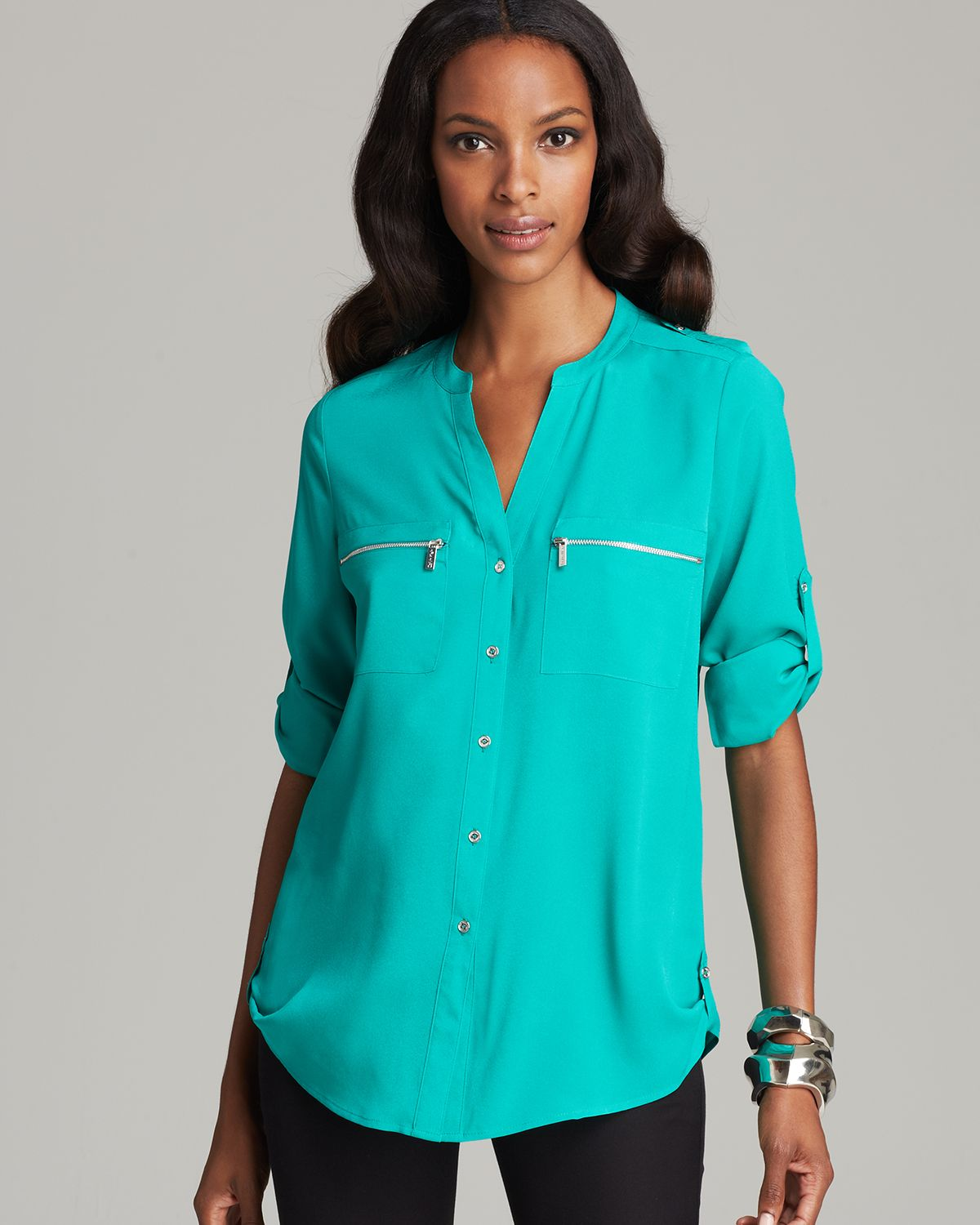 Lyst Calvin Klein Zip Pocket Roll Sleeve Shirt In Blue