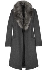 Capitol Couture By Trish Summerville Faux Fur Trimmed Wool Coat - Lyst