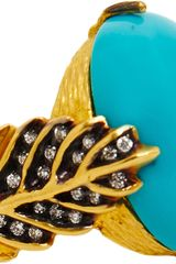 Cathy Waterman Diamond Turquoise Leaf Ring - Lyst