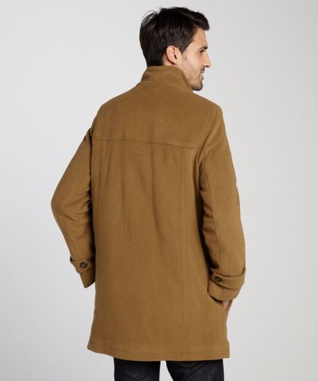 Cole Haan Camel Woolblend Hooded Toggle Coat In Brown For