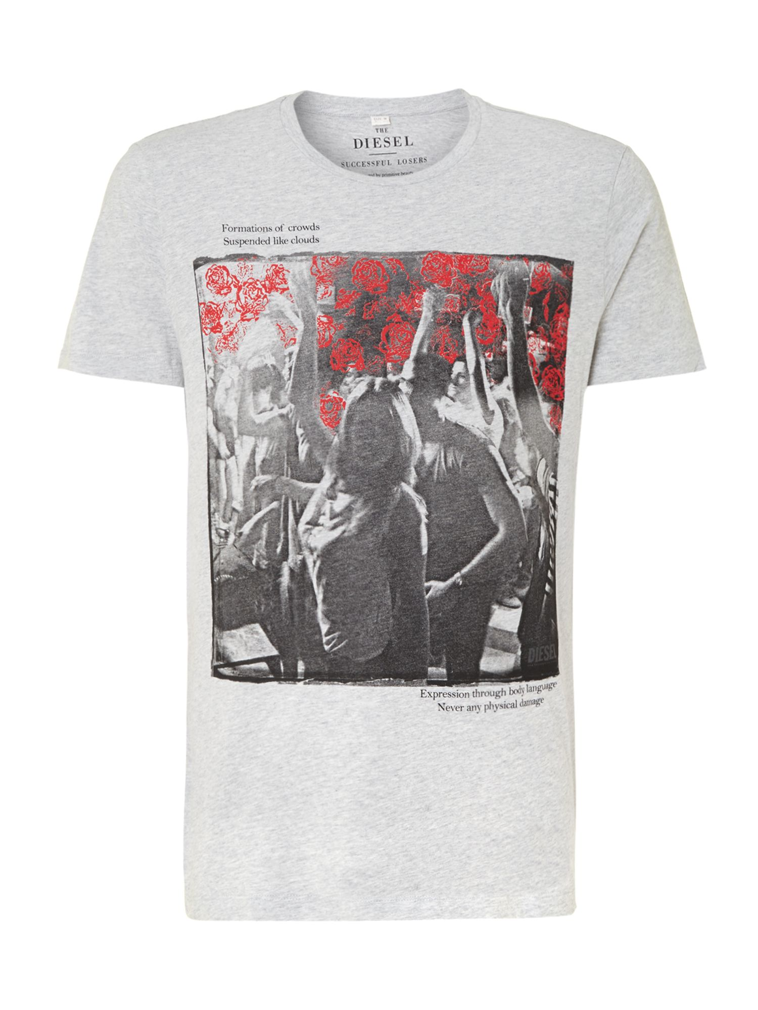 Diesel Floral Band T Shirt In Gray For Men Lyst