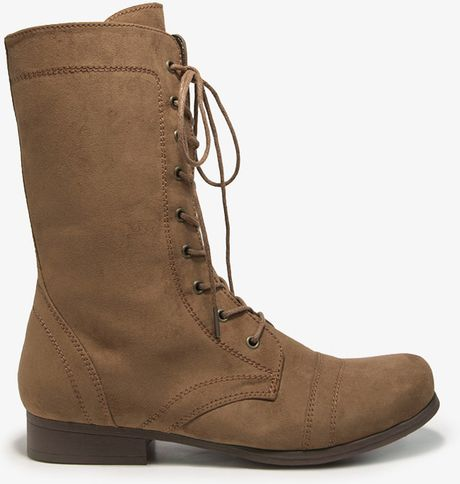 forever 21 faux suede combat boots in brown chestnut lyst
