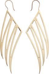 Jennifer Fisher Brass Triple Hollow Wing Earrings - Lyst