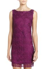 Laundry By Shelli Segal Lace Vd Back Sheath Dress Violet - Lyst