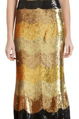 L'Wren Scott Scallop Striped Sequin Dress - Lyst