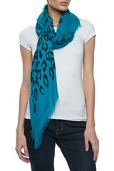 Marc By Marc Jacobs Sasha Leopardprint Scarf Teal - Lyst