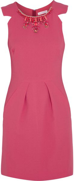 Matthew Williamson Embellished Crepe Mini Dress - Lyst