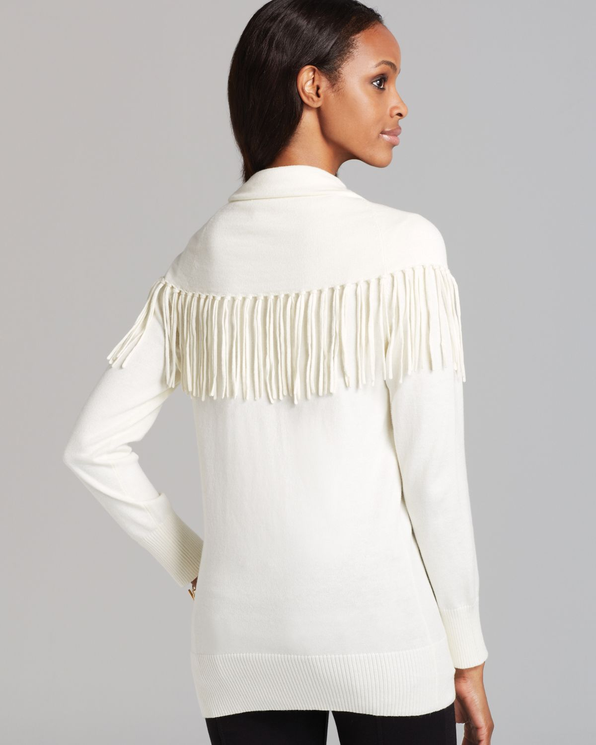 Michael michael kors Fringe Cowl Neck Sweater in Natural | Lyst