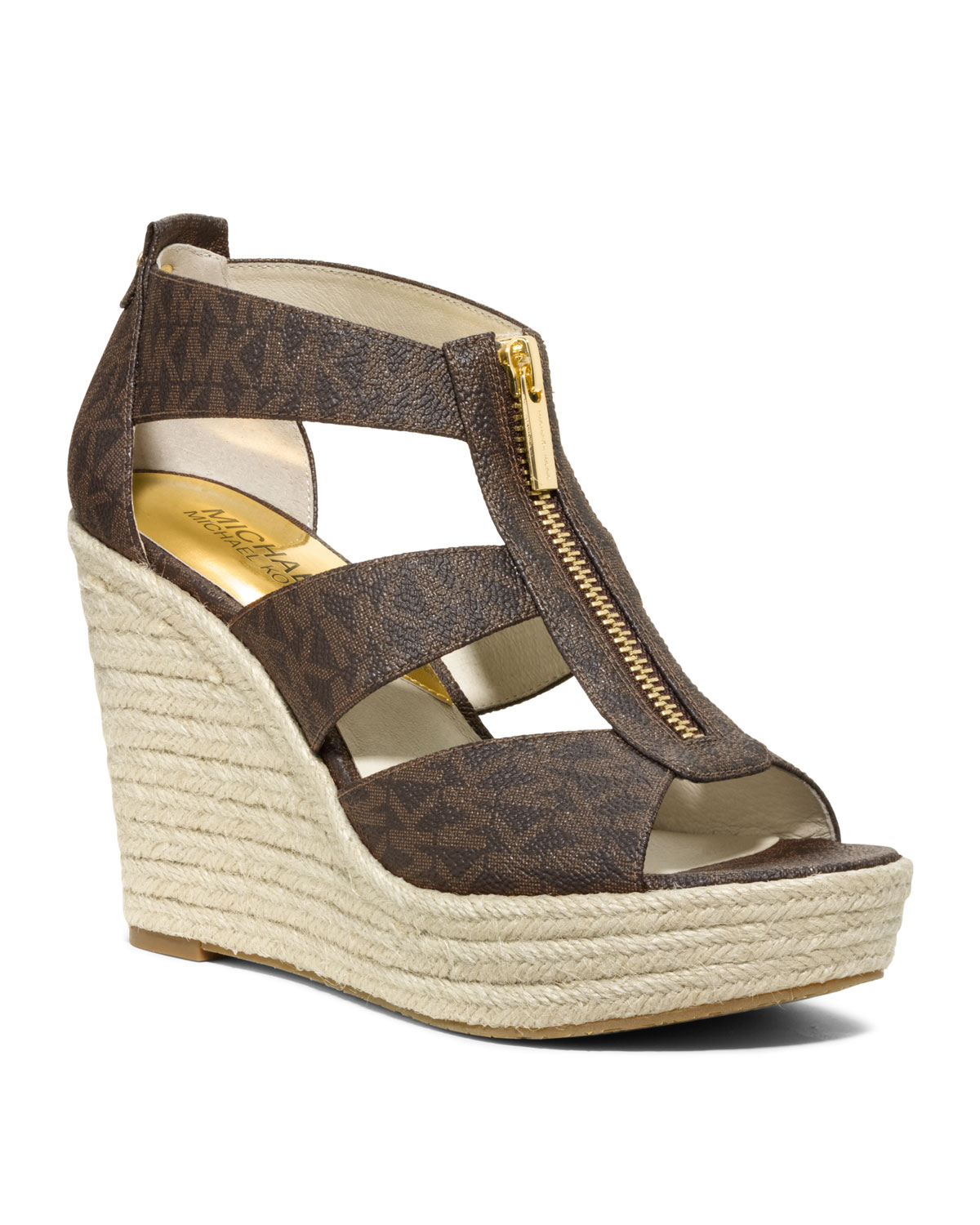Lyst Michael Kors Damita Logo Zipper Wedge Sandal In Brown