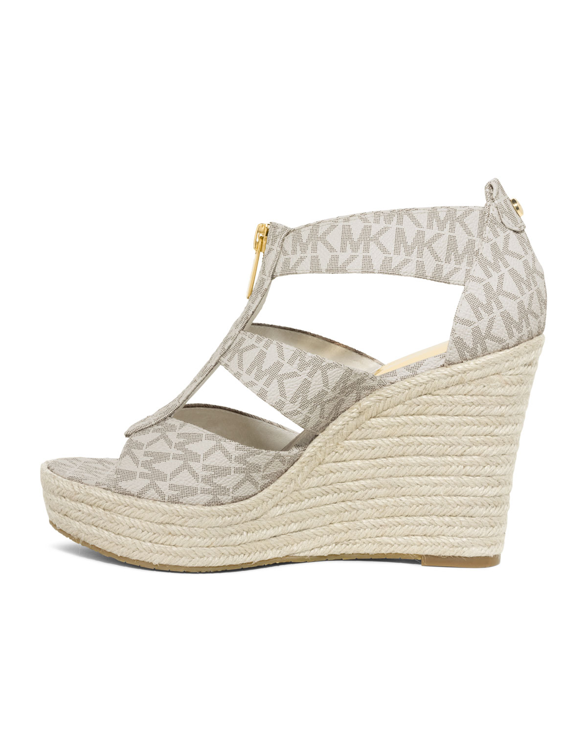 lyst michael kors damita logo zipper wedge sandal in natural