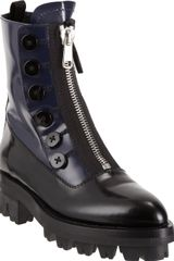 Miu Miu Bicolor Center Zip Ankle Boot - Lyst