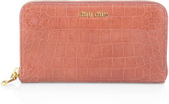 Miu Miu St Coco Lux Crocodile Embossed Leather Ziparound Wallet - Lyst