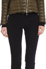 Moncler Leather Cropped Puffer Beurre Jacket - Lyst