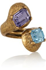 Oscar de la Renta Goldplated Crystal Ring - Lyst