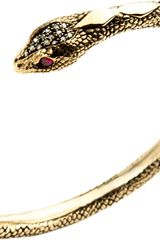 Pamela Love Champagne Diamond Ruby Serpent Bangle - Lyst