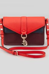 Rebecca Minkoff Hudson Colorblock Moto Mini Crossbody Bag Black Cherryscarletnavy - Lyst