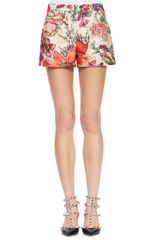 RED Valentino Flowerprint Shorts Bougainvillea - Lyst