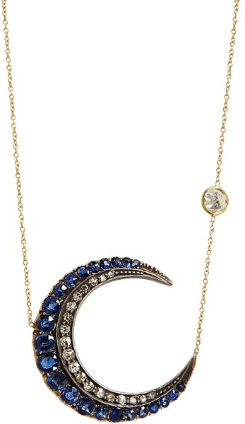 Renee Lewis Antique Diamond Blue Sapphire Crescent Pendant