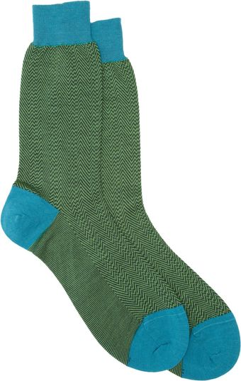 Richard James Herringbone Woolblend Socks - Lyst