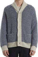 Save Khaki Striped Shawl Collar Cardigan - Lyst