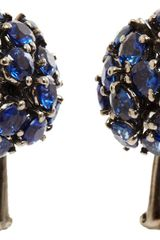 Sidney Garber Sapphire Rhodium Starburst Earrings - Lyst